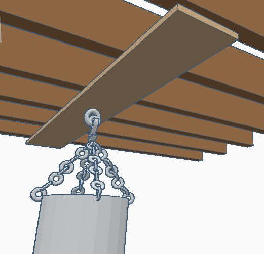 hanging a heavy bag on a beam in a basement